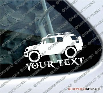 2x Custom YOUR TEXT Lowered car stickers - Toyota FJ Cruiser (roof rack version) 4x4 sticker